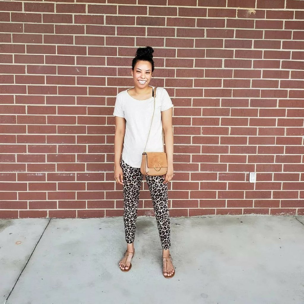 leopard pants beige t shirt brown sandals outfit Aidensblog