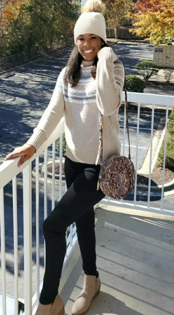 Fair isle sweater beige snakeskin round crossbody bag black skinny jeans and taupe ankle boots