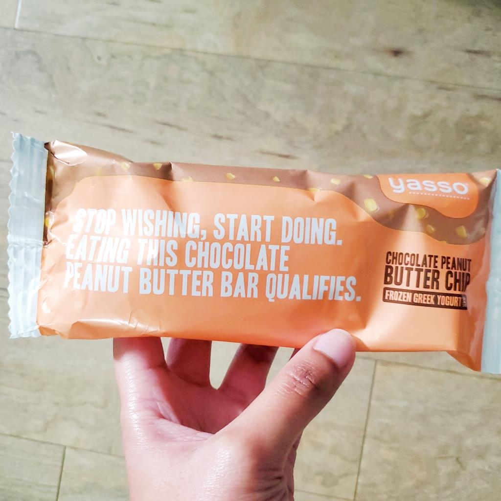 Yasso Frozen Greek yogurt chocolate peanut butter chip bars Aidensblog
